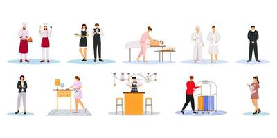Hotel staff flat vector illustrations set. Cleaning service, housekeepers, security guard. Chefs, waiters, administration managers. Inn employees isolated cartoon characters on white background