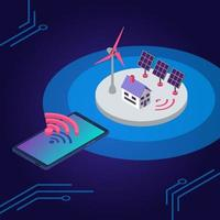 Renewable energy isometric color vector illustration. Eco friendly electricity source wireless remote control. Smart home solar panel and windmill 3d concept isolated on blue background