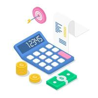 Revenue isometric color vector illustration. Annual financial report. Accounting and audit. Income calculation. Investment. Business planning. Tax calculation. 3d concept isolated on white background