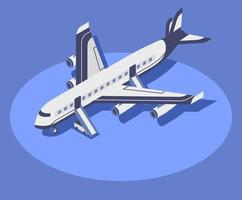 Commercial airplane isometric color vector illustration. Civil aviation, modern aircraft 3d concept isolated on blue background. Airline company transport. international tourism, airway travel