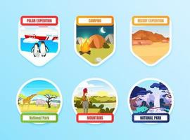 Expedition flat color vector badge set on blue background. National park. North pole. Camping and hiking. Trekking on hills. Exloration graphic sticker pack. Tourism isolated cartoon design element