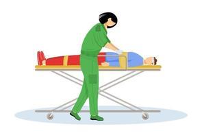 paramédico dando primeros auxilios ilustración vectorial plana. atención de urgencia, reanimación. trabajador de rescate de emergencia, médico. Emt y paciente con trauma en personaje de dibujos animados de camilla. doctor aislado en blanco vector