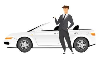 Businessman standing by car flat color vector faceless character. Smiling man holding keys to new cabriolet isolated cartoon illustration for web graphic design and animation. Smiling auto salesman
