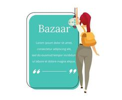 Bazaar buyer flat color vector character quote. Eastern marketplace, fair, souvenirs for tourist advertising. Citation blank frame template. Speech bubble. Quotation empty text box design