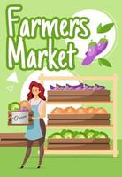 Farmers market poster vector template. Organic vegetables production. Farming. Brochure, cover, booklet page concept design with flat illustrations. Advertising flyer, leaflet, banner layout idea