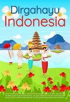 Dirgahayu Indonesia brochure template. Balinese cultural trip. Flyer, booklet, leaflet concept with flat illustrations. Vector page cartoon layout for magazine. advertising invitation with text space