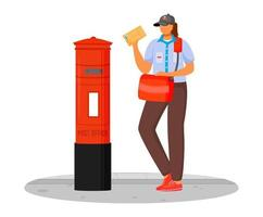 Post office female worker flat color vector illustration. Woman with parcels. Post service delivery. Woman in postal uniform and with bag isolated cartoon character on white background