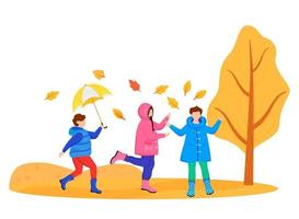 Children in raincoats flat color vector faceless character. Playing caucasian kids. Autumn nature. Wet weather. Rainy day. Little friends in gumboots isolated cartoon illustration on white background