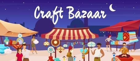 Craft bazaar flat color vector illustration. Egypt marketplace. Eastern market with souvenirs, carpets, pottery for tourist. Travelers, sellers cartoon characters with trade tents on background