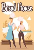 Bread house poster vector template. Couple of bakers. Bakery. Bakehouse. Brochure, cover, booklet page concept design with flat illustrations. Advertising flyer, leaflet, banner layout idea