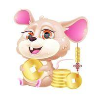 Cute mouse kawaii cartoon vector character. Adorable and funny zodiac animal with golden coins isolated sticker, patch. Chinese New Year symbol of prosperity. Anime baby rat emoji on white background