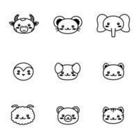 face cute pet animal Outline symbol Kawaii animal vector