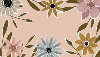 Abstract art nature background vector. Trendy plants frame. design background color flowers, decorative beautiful garden. Botanical leaves and floral pattern design for summer sale banner. vector