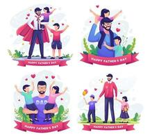 Set bundle of Happy father's day with Father playing with his childrens. vector illustration
