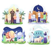 Set Bundle of Happy Muslim family celebrates Eid Al Adha Mubarak with a goat in a front mosque. vector illustration