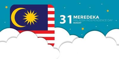 Malaysia Independence Day Cloud Flag Banner vector