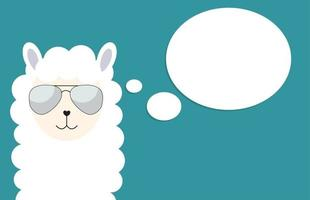 Little cute llama with glasses for card and shirt design. Vector Illustration
