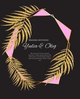Beautifil Wedding Invitation with Palm Tree Leaf  Silhouette Vector Illustration