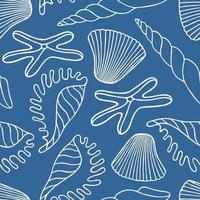 Blue seamless background with silhouettes of ocean shells and starfish vector