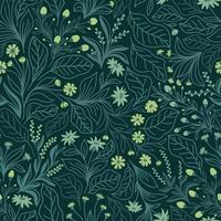Emerald seamless background with green flowers and leaves vector