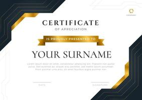 Luxury certificate with gold ribbon shape. Vector ready to print template.