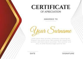 Modern simple certificate in red and gold color with gold and border line vector template