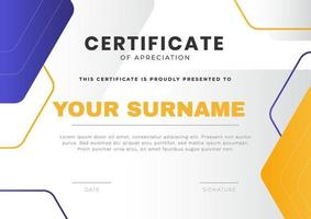 Trendy certificate design template with modern geometric shape background. Vector ready print template.