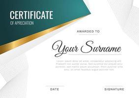 certificado de plantilla de reconocimiento, color dorado y degradado de cola. Plantilla de borde de certificado moderno y limpio con patrón de línea moderno y de lujo. plantilla de vector de diploma