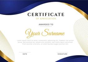 Modern wavy certificate with blue frame gradient and gold line. vector illustration print template.