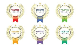 Trusted seller badge logo label for product vector
