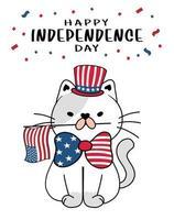 lindo gato 4 de julio día de la independencia con sombrero de tío sam y bandera de américa, garabato de dibujos animados ilustración vectorial plana gatito vector