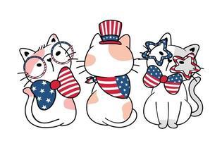 Lindo tres gato divertido día de la independencia de América 4 de julio con rayas y estrellas, ilustración de vector plano de doodle de dibujos animados