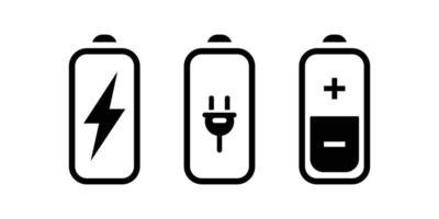 Battery plug power status icon vector