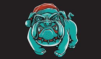 angry bulldog christmas hat vector
