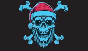 crossbone skull santa vector