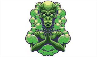 alien with marijuana vector