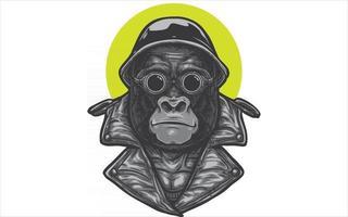 gorilla biker with helmet vector