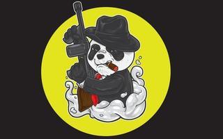 panda mafia con pistola vector