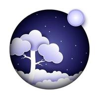 night sky in papercut style vector
