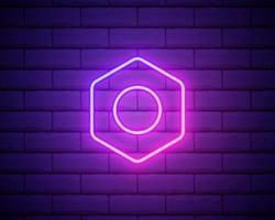Glowing neon line Hexagonal metal nut icon isolated on brick wall background. Vector Illustration