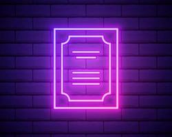 Glowing neon line Certificate template icon isolated on brick wall background. Achievement, award, degree, grant, diploma concepts. Business success certificate. Vector Illustration