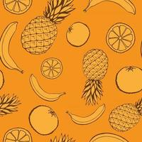 Seamless pattern with hand drawn fruits elements. Vegetarian wallpaper. For design packaging, textile, background, design postcards and posters. vector