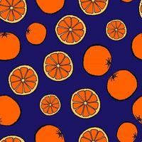 Seamless pattern with hand drawn fruits elements orange. Vegetarian wallpaper. For design packaging, textile, background, design postcards and posters. vector