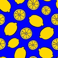 Seamless pattern with hand drawn fruits elements lemon. Vegetarian wallpaper. For design packaging, textile, background, design postcards and posters. vector