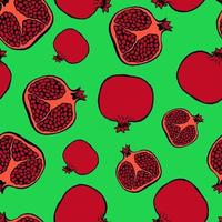 Seamless pattern with hand drawn fruits elements pomegranate. Vegetarian wallpaper. For design packaging, textile, background, design postcards and posters. vector