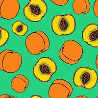Seamless pattern with hand drawn fruits elements peach. Vegetarian wallpaper. For design packaging, textile, background, design postcards and posters. vector