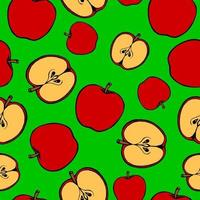 Seamless pattern with hand drawn fruits elements apple. Vegetarian wallpaper. For design packaging, textile, background, design postcards and posters. vector
