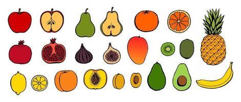 Vector hand drawn fruit icon set. Decorative retro style collection farm product restaurant menu, market label.