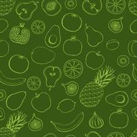 Seamless pattern with hand drawn fruits elements on a green background. Vegetarian wallpaper. For design packaging, textile, background, design postcards and posters. vector