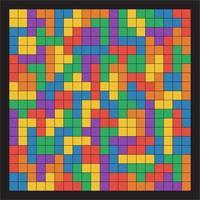 Seamless flat UI colors tetris pattern black lines isolated on black background vector illustration